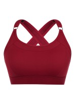 Sunset Wine Red Athletic Bra Open Back Cross Strap For Women