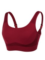 Distinct Wine Red Mesh Splice Sports Bra Hollow Out