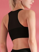 Ultra-Skinny Elastic Black V Neck Mesh Patchwork Sports Bra