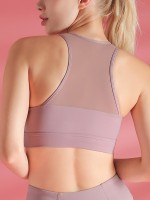 Ultra Cheap Light Purple Shockproof Sports Bra Widened Hem