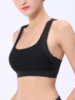 Awesome Black Open Back Sports Bra Mesh Splicing Activities