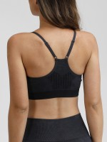 Distinct Black Slender Straps Sports Seamless Bra Athletic Apparel