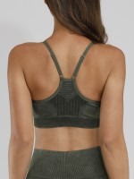 Elegance Army Green Seamless Yoga Bra Y-Shaped Backless Outdoor
