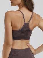 Stretch Purple Adjustable Straps Sports Bra Seamless Running Outfits