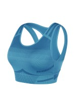 Classic Blue Cutout Yoga Bra Widened Hem Backless Form Fitting