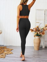 Sweety Black High Waisted Zipper Yoga Suit Wide Waistband Streetstyle