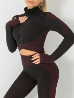 Ultra Hot Fuchsia Full-Length Yoga Suit Thumbhole Zip Fashion