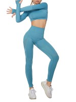 Holiday Sky Blue 2 Pieces Yoga Top Ankle Length Pants Slim