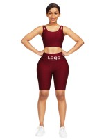 Dazzles Wine Red Scoop Neck Crop Jacquard Sports Suit Glamor