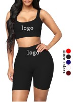 Interesting Black Training Suits High Waist Scoop Neck Breathable