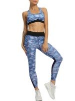 Explicitly Chosen Blue Camouflage Yoga Bra And Mesh Legging
