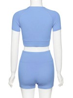 Paradise Blue Solid Color Crop Top And Yoga Shorts Ladies Sportswear