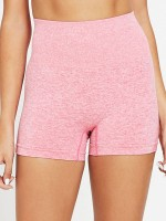 Romance Pink Solid Color Seamless Yoga Shorts Suit Natural Outfit