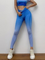 Body Sculpting Blue High Waist Cropped Yoga Suit Seamless