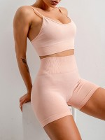 Bright Pink Sling Yoga Top Mid Thigh Shorts Suit Female Charm
