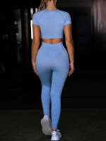 Unvarnished Sky Blue Yoga Suit Crop Seamless Round Collar For Runner
