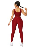 Wine Red Crop Yoga Top And High-Waist Leggings For Woman