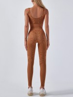 Light Brown Snakeskin Seamless Yoga Suit High Waist Sport Series