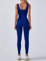 Deep Blue Seamless Snakeskin Yoga 2 Piece Outfits Sensual Curves