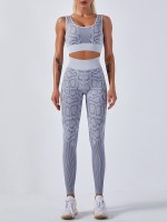 Gray Ankle Length Yoga Two-Piece High Waist Liberty Trendy
