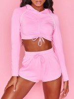 Pink Sports Suit Hooded Collar Elastic Waist Leisure Fashion