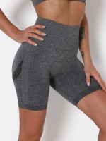Yoga Shorts Dark Gray High Waist Solid Color Kinetic Fashion