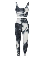 White Tie-Dyed Print Yoga Suit Detachable Pads Comfort Fit