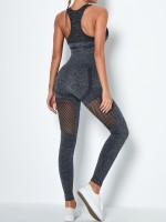 Deep Gray U Neck High Waist Yoga Suit Hollow Out Distinctive Look