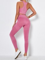 Pink Back Punch Removable Pads Yogawear Suit For Training