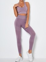 Light Purple Removable Pads Yoga Bra Seamless Legging Exercise