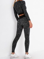 Black Crop Top U-Neck Sports Bra Ankle Length Leggings Refined Outfit