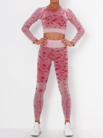 Wine Red 3-Piece Sports Sets Seamless Camouflage Print Free Time