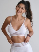 White Jacquard Seamless Yoga Suit High Waist Quality Assured