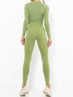 Grass Green Wide Waistband Round Collar Sweat Suit For Female