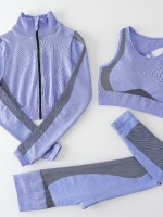 Long Sleeve Top Sports Bra And Leggings Blue Stretchy