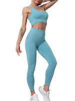 Blackish Green Wide Waistband Seamless Yoga Suit Plain For Woman