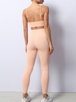 Pink Removable Pad Yoga Bra High Waist Leggings Fashion Essential