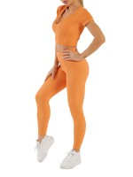 Orange Solid Color Short Sleeves Seamless Yoga Set For Fitness