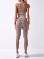 Khaki Seamless Sports Bra Ankle Length Leggings Delightful Garment