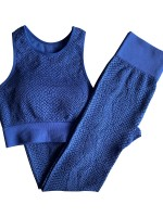 Dark Blue Sports Set Detachable Breast Pad Full Length Aerobic Activities
