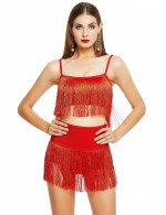Red Spaghetti Strap Tassel Zip At Back Two-Piece Versatile Item