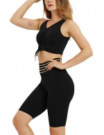 Ravishing Black Drawstring V-Neck Stripe Bike Shorts Ladies Sportswear