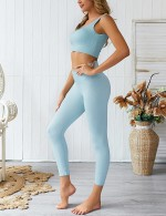 Sexy Ladies Blue Tank Top High Rise Full Lenth Leggings For Beauty