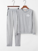 Gray Long Sleeves Sweat Suit Crown Pattern Superior Quality