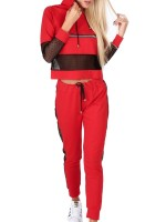 Stretch Red Big Size Sports Suits Long Sleeves Trendy Style