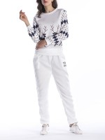 Astonishing Patchwork Sweat Suit Full Sleeves Female