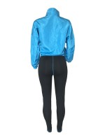 Luxirious Blue Front Zipper Top And High Waist Pants Leisure Time