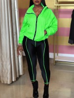 Sultry Green Pocket Zipper Top And Ankle Length Pants Slimming Fit