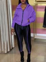 Purple Two Pieces Zipper Sports Suit With Pocket Comfort Fabric