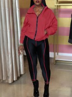 Eye Catching Red Long Sleeve High Rise Zipper Sports Suit For Stunner